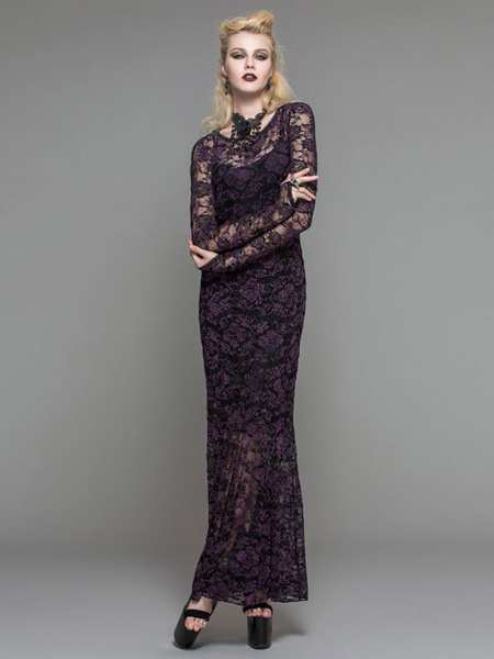 Gothic Dresses Lace Purple Long Sleeve Backless Illusion Maxi Dress