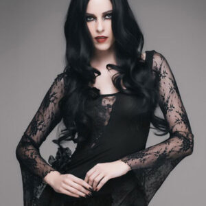 Gothic Halloween Costume Top Women Long Sleeve Lace Retro Costumes