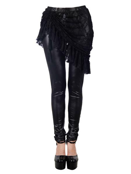 Gothic Leggings Skirt Pants Skinny Black Lace Women PU Bottoms Halloween Costume