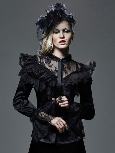 Gothic Lolita Blouse Lace Long Sleeve Ruffles Stand Collar Black Lolita Top