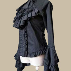 Gothic Lolita Blouse White Ruffle High Collar Lace Bell Long Sleeve High Low Lace Up Cotton Lolita Blouse
