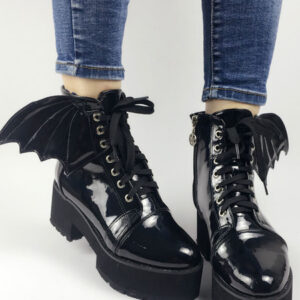 Gothic Lolita Booties Round Toe Chunky Heel Lace Up Leather Grommets Black Lolita Ankle Boots