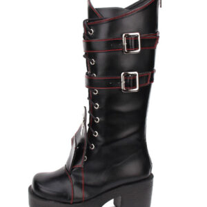 Gothic Lolita Boots Grommet Cross Lace Up Buckle Platform Chunky High Heel Black Lolita Shoes