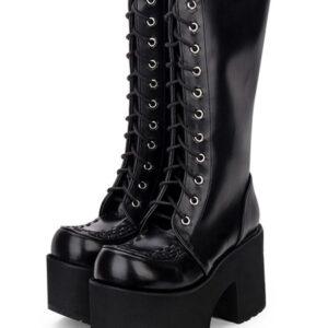 Gothic Lolita Boots Grommet Lace Up Zipper Platform High Heel Black Lolita Thigh High Boots