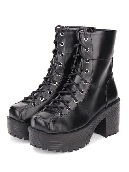 Gothic Lolita Boots Lace Up Grommet Platform Chunky High Heel PU Black Shoes