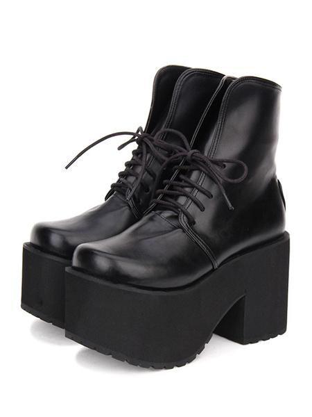 Gothic Lolita Boots Lace Up Platform PU Black Lolita Mid Calf Boots