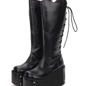 Gothic Lolita Boots Metallic Lace Up Zipper Platform Black Lolita Footwear