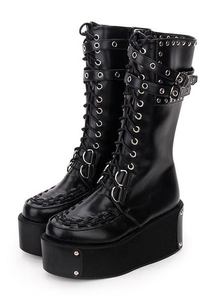 Gothic Lolita Boots Rivet Grommet Buckle Lace Up Zipper Platform Black Lolita Footwear