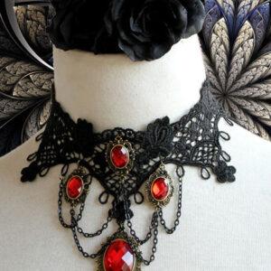 Gothic Lolita Choker Metal Detail Jewel Lace Black Lolita Necklace