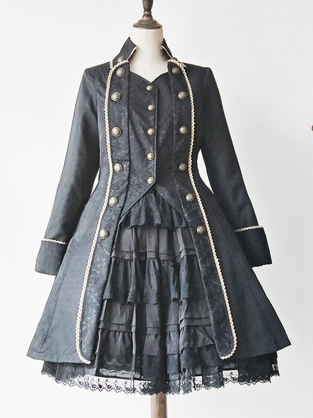 Gothic Lolita Coats Black Infanta Trench Coats Lace Two Tone Overcoat Lolita Outwears