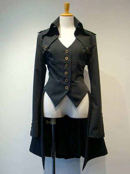 Gothic Lolita Coats Dark Red Lace Up Grommets Cotton Blend Overcoat Lolita Outwears