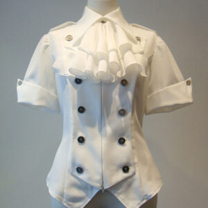 Gothic Lolita Coats White Lace Up Top Cotton Blend Lolita Outwears