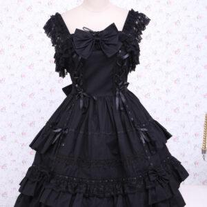 Gothic Lolita Dress JSK Black Ruffles Bow Lace Trim Lolita Jumper Skirt