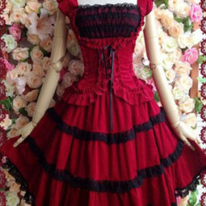 Gothic Lolita Dress JSK Cotton Lace Trim Pleated Red Lolita Jumper Skirt