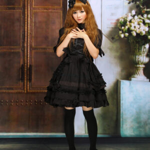 Gothic Lolita Dress OP Black Short Sleeves Shirring Lace Up Ruffles Bows Cotton Lolita One Piece Dress