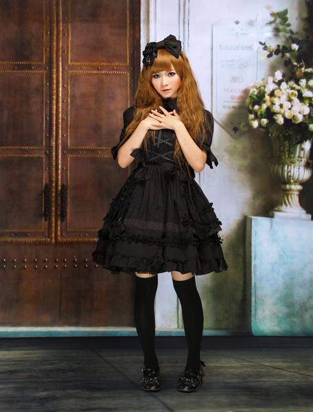 Gothic Lolita Dress OP Black Short Sleeves Shirring Lace Up Ruffles Bows Cotton Lolita One Piece Dress