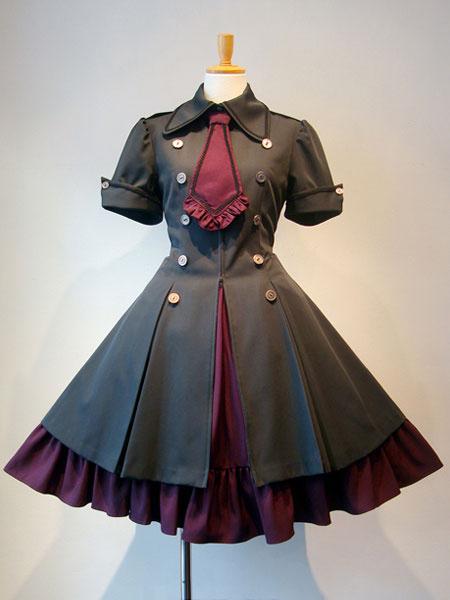 Gothic Lolita Dress OP Military Style Ruffle Bowtie Button Lace Up Burgundy Lolita One Piece Dress