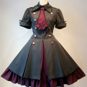 Gothic Lolita Dress OP Military Style Ruffle Bowtie Button Lace Up Burgundy Lolita One Piece Dress