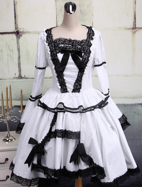 Gothic Lolita Dress OP White Long Sleeves Black Lace Trim Two Layer Lolita One Piece Dress