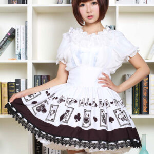 Gothic Lolita Dress Poker Printed High Waist Milanoo Lolita Skirt Black Lace Trim Lolita Suspender Skirt