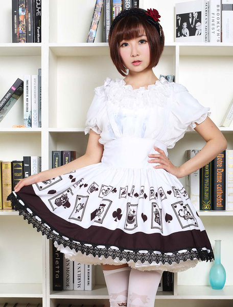 Gothic Lolita Dress Poker Printed High Waist Milanoo Lolita Skirt Black Lace Trim Lolita Suspender Skirt