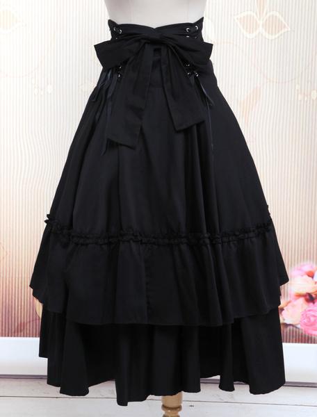 Gothic Lolita Dress SK Black Lace Up Ruffle Tiered Cotton Lolita Skirt