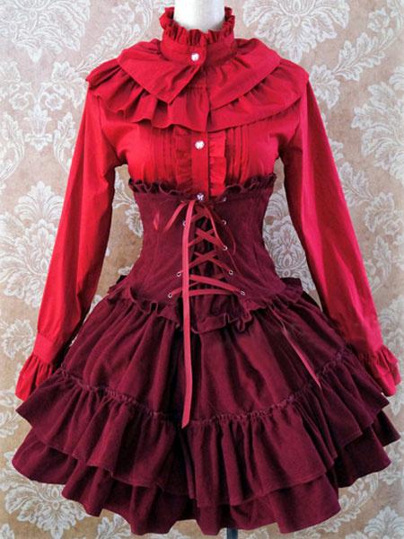 Gothic Lolita Dress SK Lavender High Waist Lace Up Ruffles Lolita Skirt