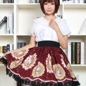 Gothic Lolita Dress Vintage Burgundy Printed Milanoo Lolita Skirt With Black Lace Trim