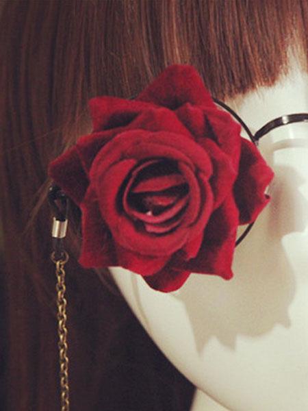 Gothic Lolita Glasses Steampunk Vintage Red Rose Flower Gear Chains Retro Lolita Costume Accessories