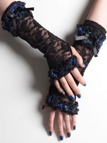 Gothic Lolita Gloves Lace Ribbons Fingerless Elbow Length Black Lolita Accessories
