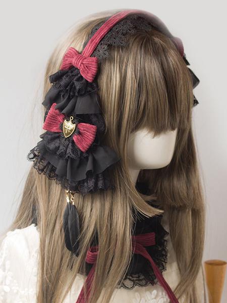 Gothic Lolita Hairpin Lace Ruffle Bow Lolita Hair Accessory