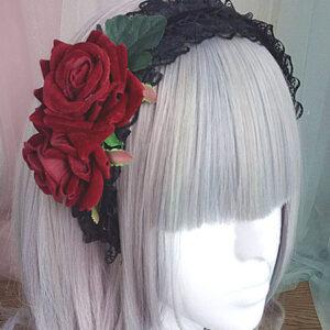 Gothic Lolita Headband Rose Lace Ruffle Black Lolita Headdress