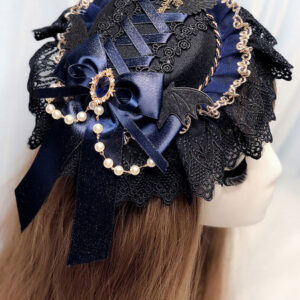 Gothic Lolita Headdress Black Lace Chains Ribbons Headwear Lolita Hair Accessories