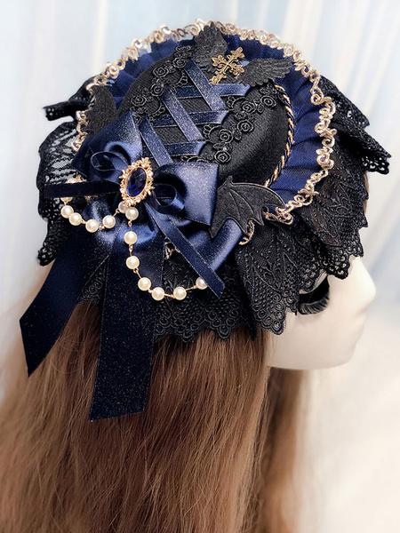 Gothic Lolita Headdress Black Lace Chains Ribbons Headwear Lolita Hair Accessories