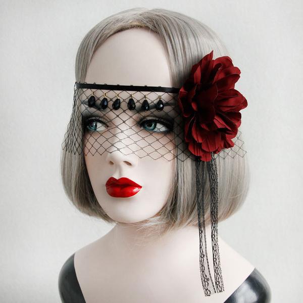 Gothic Lolita Headdress Flower Net Lace Jewel Bead Black Lolita Veil