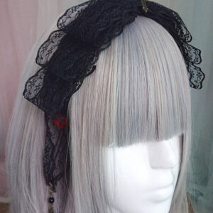 Gothic Lolita Headdress Lace Bow Metallic Design Black Lolita Hair Accessory