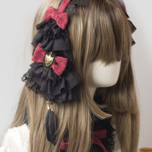 Gothic Lolita Headdress Lace Bow Two Tone Lolita Hair Accessory