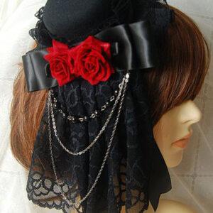 Gothic Lolita Headdress Lace Ruffle Floral Bow Metallic Chain Two Tone Lolita Hair Accessory
