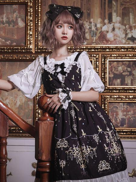 Gothic Lolita JSK Dress Black Diamond Chandelier Print Bows Lace Lolita Jumper Skirts