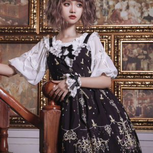 Gothic Lolita JSK Dress Black Diamond Chandelier Print Bows Lace Lolita Jumper Skirts