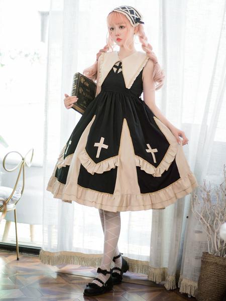 Gothic Lolita JSK Dress Cool Angel Printed Pleated Lace Black Lolita Jumper Skirts