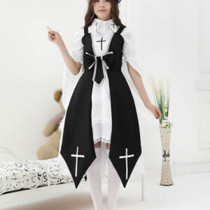 Gothic Lolita JSK Dress Dark Night Contract Bows Cross Lace Red Lolita Jumper Skirts