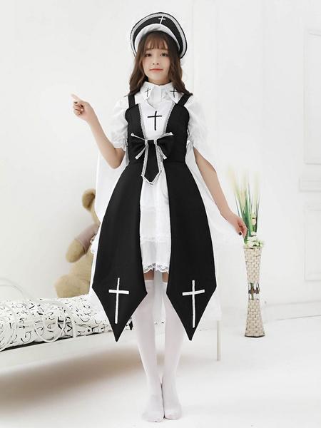 Gothic Lolita JSK Dress Dark Night Contract Bows Cross Lace Red Lolita Jumper Skirts