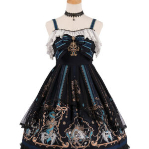 Gothic Lolita JSK Dress God Redemption Print Lace Ruffle Black Lolita Jumper Skirts Original Design
