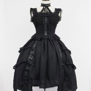 Gothic Lolita JSK Dress Lace Frill Lolita Jumper Skirts
