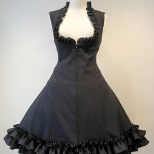 Gothic Lolita JSK Dress Lace Up Black Lolita Jumper Skirts