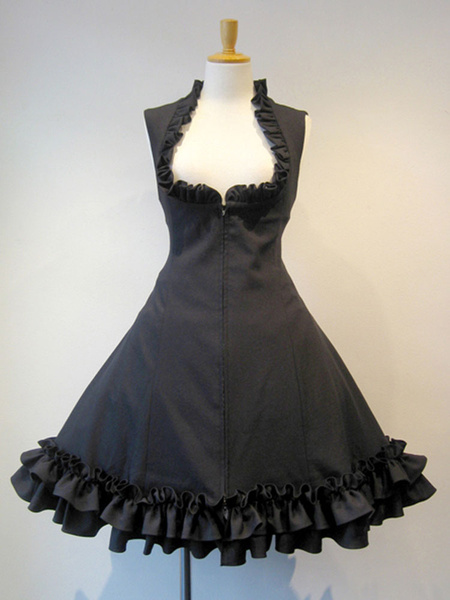 Gothic Lolita JSK Dress Lace Up Black Lolita Jumper Skirts