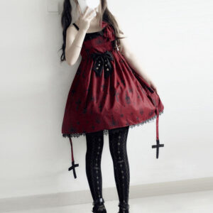 Gothic Lolita JSK Dress Print Bow Lace Lolita Jumper Skirt