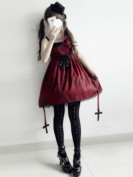 Gothic Lolita JSK Dress Print Bow Lace Lolita Jumper Skirt