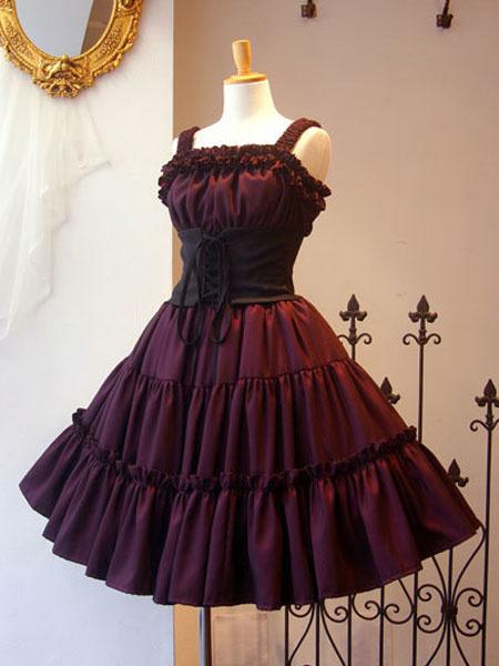 Gothic Lolita JSK Dress Ruffle Pleated Lace Up Black Lolita Jumper Skirt